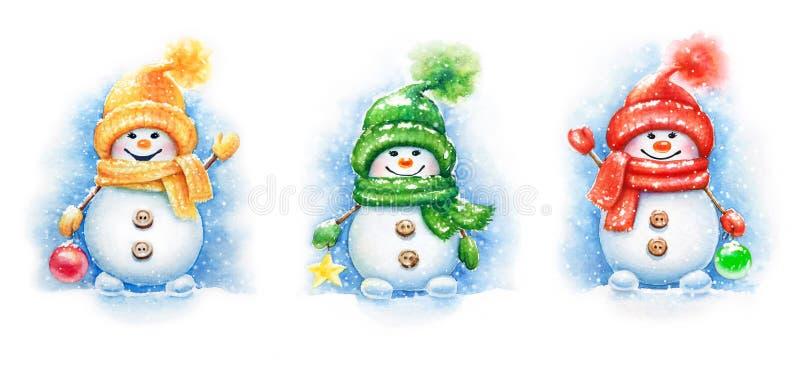 Συλλογή χαριτωμένων χιονανθρώπων έτους watercolor των νέων απεικόνιση αποθεμάτων