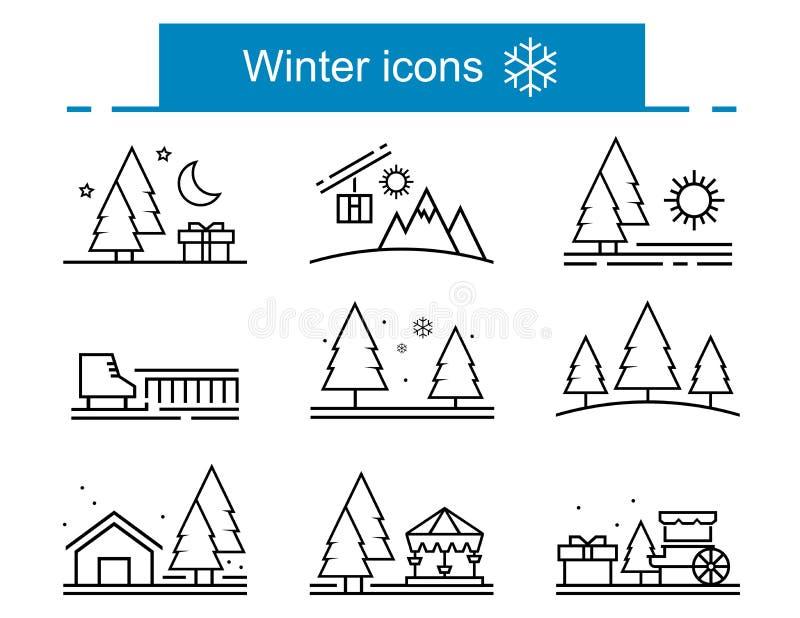 Συλλογή χειμερινών εικονιδίων περιλήψεων ελεύθερη απεικόνιση δικαιώματος