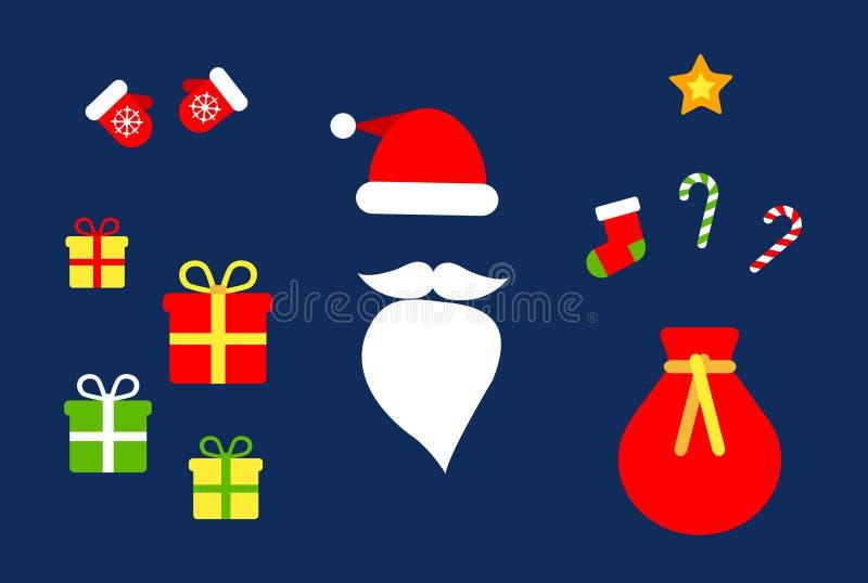 Συλλογή Χριστουγέννων Ιστού των επίπεδων εικόνων 10+: Καπέλο Santa και γενειάδα, τσάντα του santa, δώρα, καραμέλες, γάντια, χρυσό ελεύθερη απεικόνιση δικαιώματος