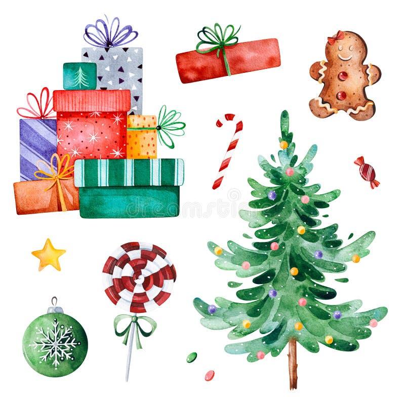 Συλλογή Χριστουγέννων με το χριστουγεννιάτικο δέντρο, την καραμέλα, τα δώρα και άλλες διακοσμήσεις απεικόνιση αποθεμάτων