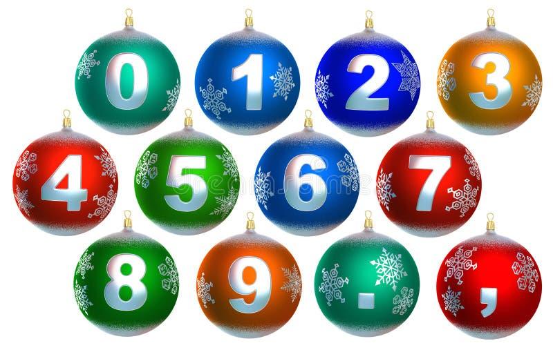 συλλογή Χριστουγέννων 12 μπιχλιμπιδιών λαμπρή απεικόνιση αποθεμάτων