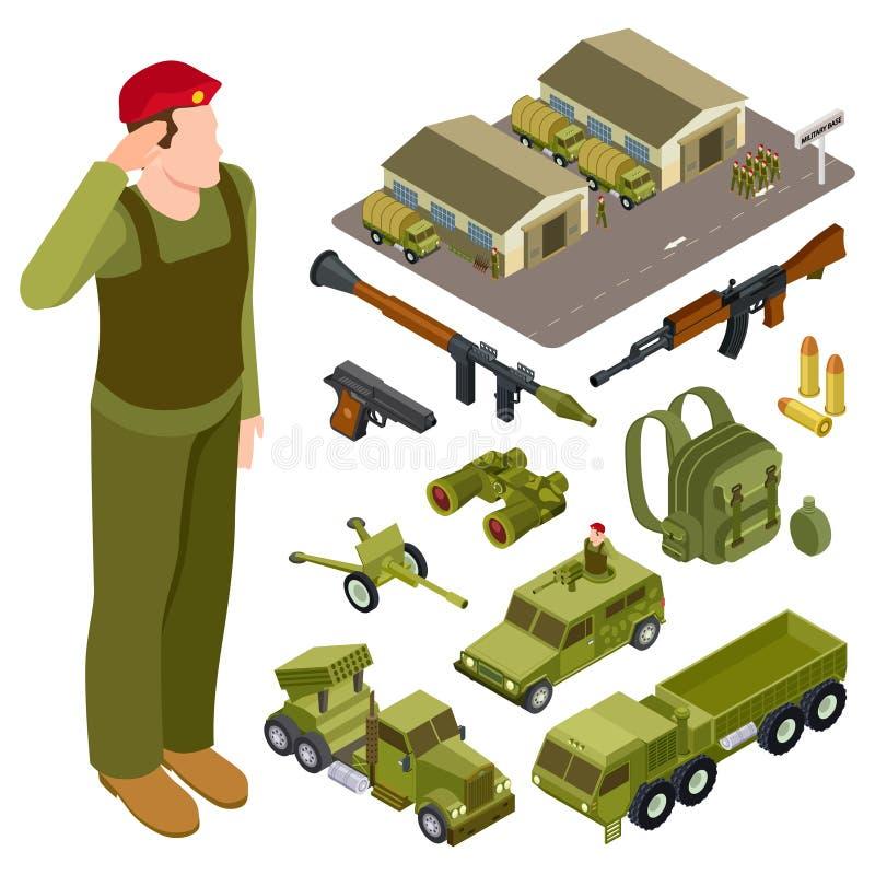 Συλλογή όπλων τεθωρακισμένων και accessorises Στρατιώτης, στρατιωτική βάση, volley σύστημα πυρκαγιάς και πολεμικό όχημα πεζικού ελεύθερη απεικόνιση δικαιώματος
