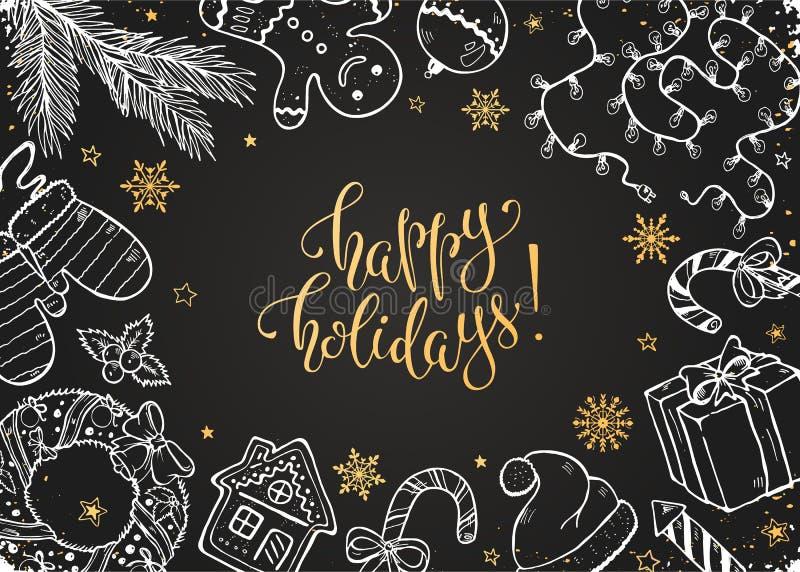 Συλλογή Doodles Χριστουγέννων διανυσματική απεικόνιση