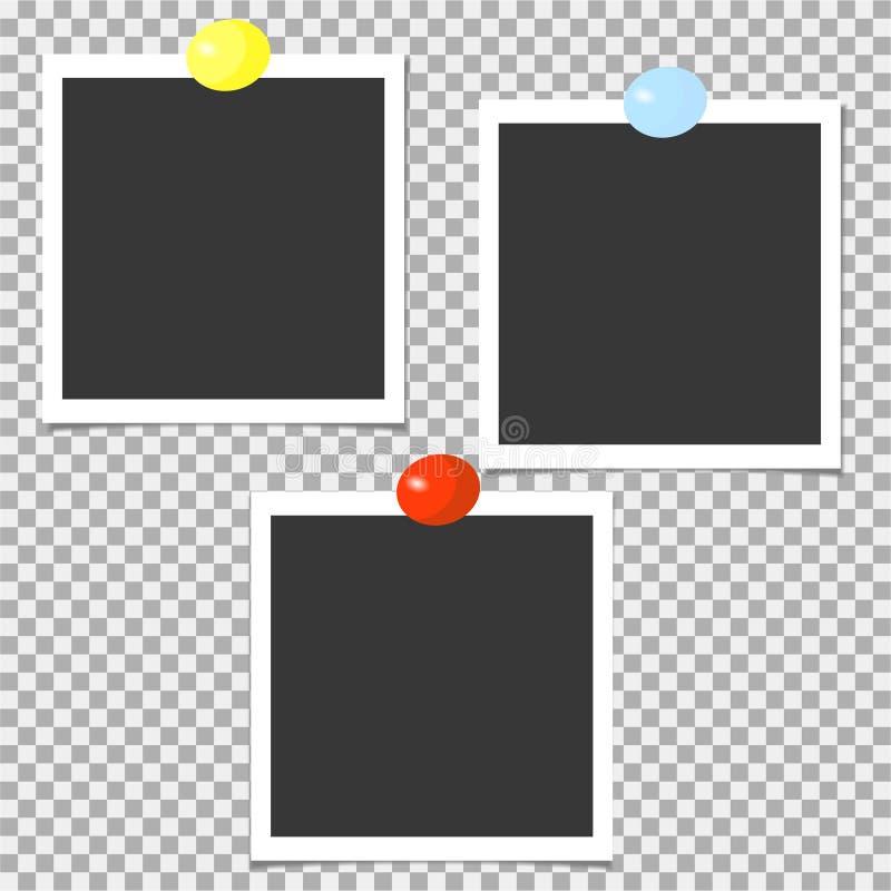 Συλλογή Polaroid των πλαισίων φωτογραφιών με τις καρφίτσες χρώματος Πρότυπο επίσης corel σύρετε το διάνυσμα απεικόνισης ελεύθερη απεικόνιση δικαιώματος