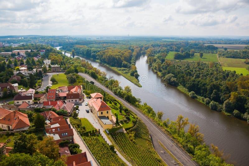 Συμβολή του Vltava και του Elbe στο Μελένικο στοκ φωτογραφίες