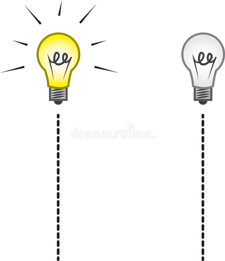 Συμβολοσειρά Lightbulb επάνω μακριά διανυσματική απεικόνιση