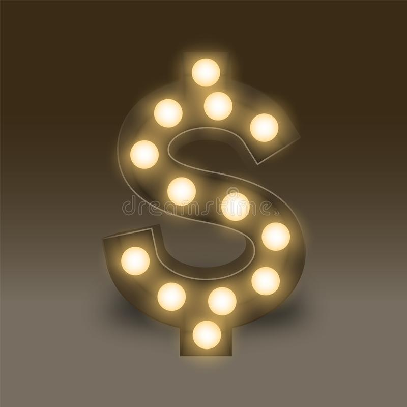 Συμβόλων τα πυρακτωμένα λαμπών φωτός δολάρια Δολ ΗΠΑ Ηνωμένες Πολιτείες νομίσματος κιβωτίων καθορισμένα υπογράφουν το εικονίδιο,  ελεύθερη απεικόνιση δικαιώματος
