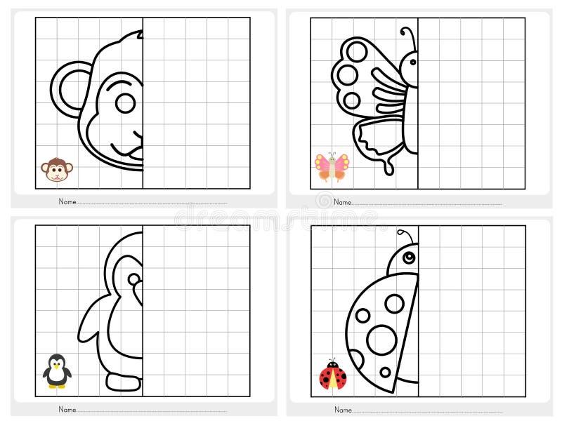 Συμμετρική εικόνα - φύλλο εργασίας για την εκπαίδευση διανυσματική απεικόνιση