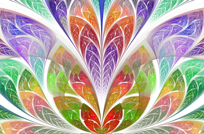 Συμμετρικό και μαγικό floral fractal σχέδιο Όμορφο λουλούδι στην πολύχρωμη παλέτα διανυσματική απεικόνιση