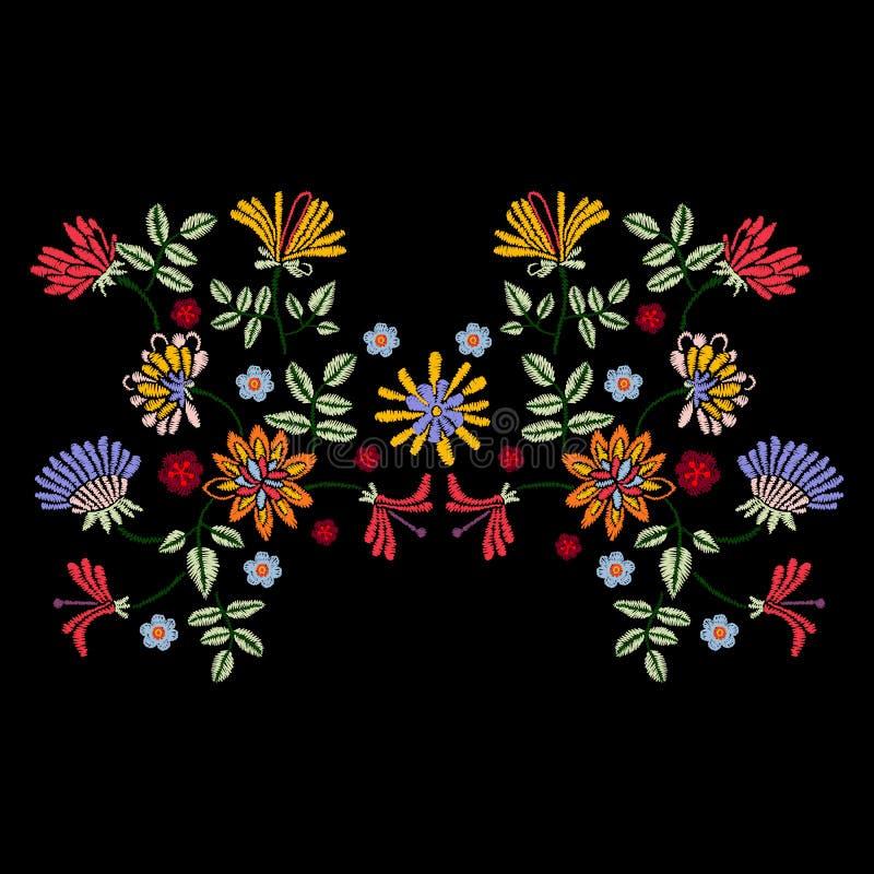 Συμμετρικό σχέδιο κεντητικής με τα εθνικά λουλούδια για το ύφασμα απεικόνιση αποθεμάτων