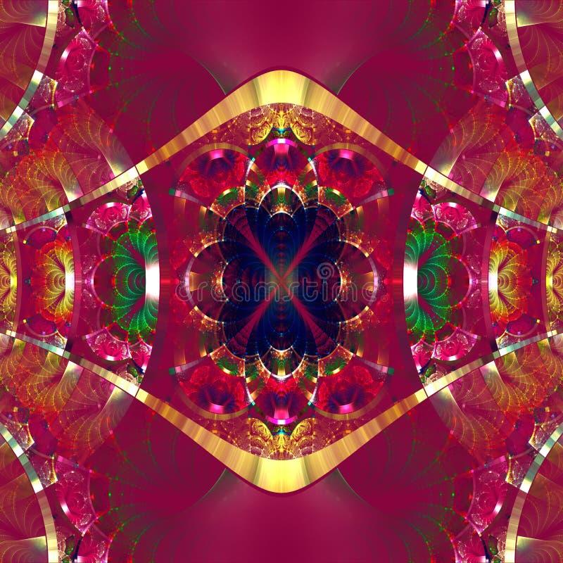Συμμετρικό fractal σχέδιο με τις λαμπρές λουρίδες Συλλογή rhinestones απεικόνιση αποθεμάτων