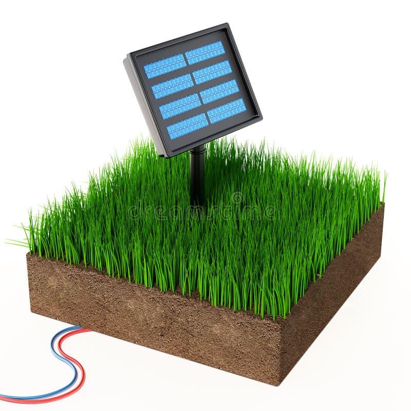 Συμπαγές ηλιακό πλαίσιο κήπων στο χώμα που καλύπτεται με τη χλόη r διανυσματική απεικόνιση