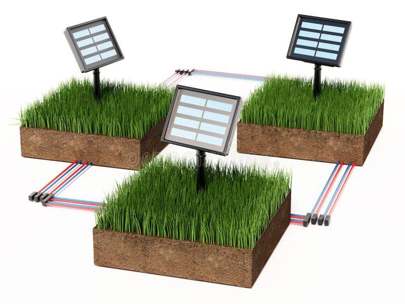 Συμπαγή ηλιακά πλαίσια κήπων στο χώμα που καλύπτεται με τη χλόη r απεικόνιση αποθεμάτων