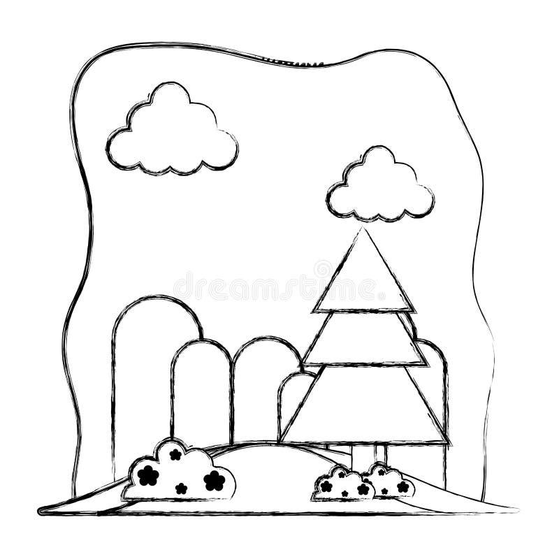 Συμπαθητικά βουνά Grunge με το δέντρο και τα λουλούδια πεύκων ελεύθερη απεικόνιση δικαιώματος