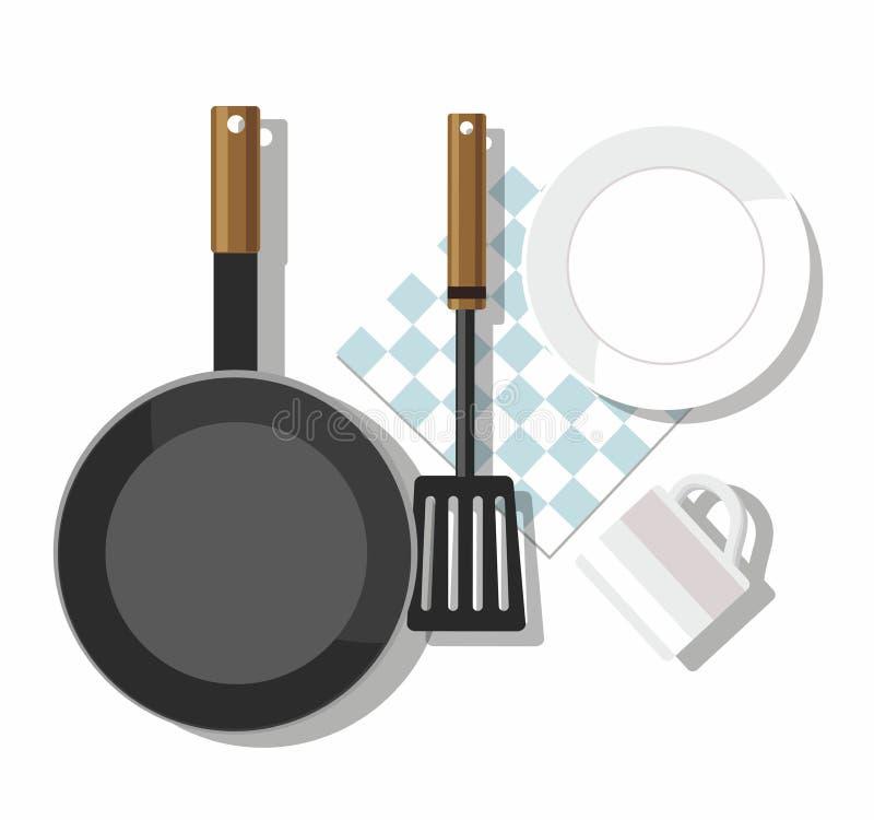 συμπαθητικά εργαλεία υποστήριξης κουζινών μορφής παπιών Πιάτο, κούπα, φτυάρι, τηγανίζοντας τηγάνι, πετσέτα Τοπ όψη διανυσματική απεικόνιση