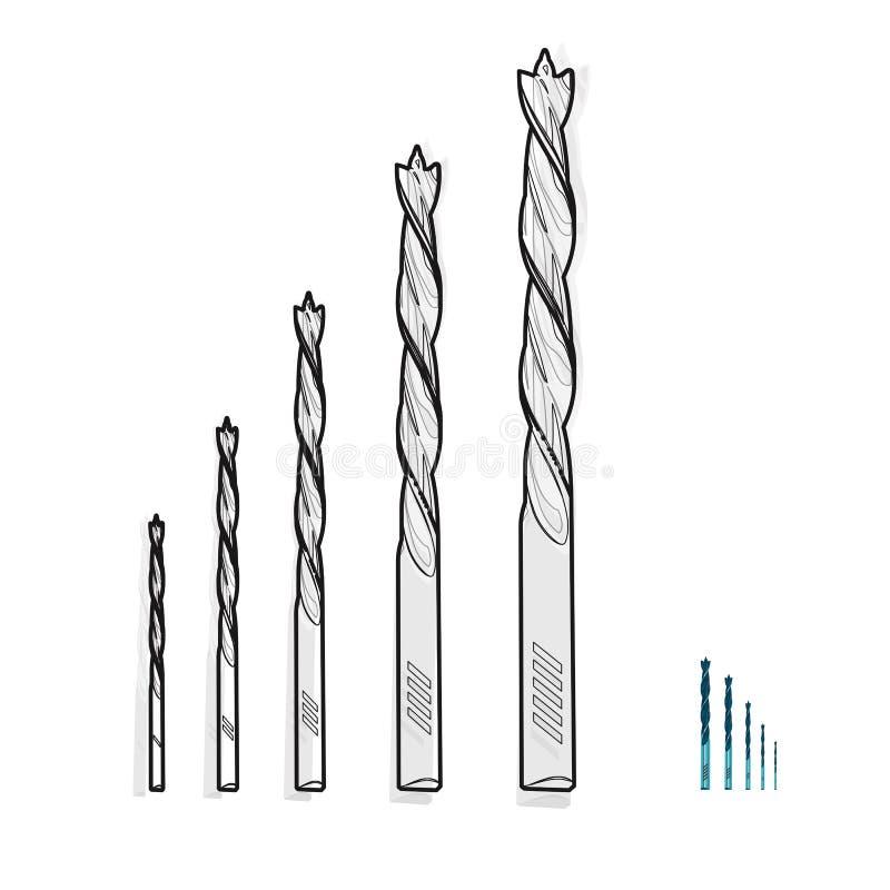 Συμπαθητικά κλασσικά τρυπάνια μετάλλων καλωδίων «γραπτά εργαλεία κατασκευής σε άσπρο †ελεύθερη απεικόνιση δικαιώματος