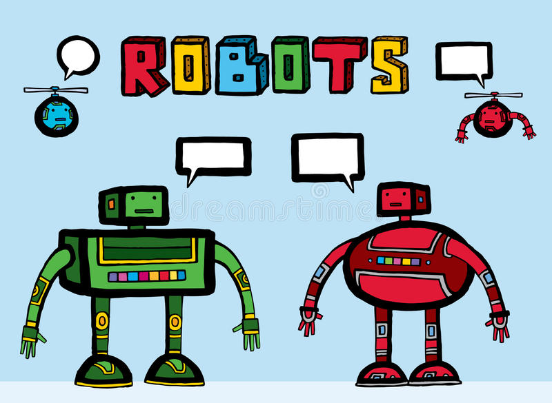 συμπαθητικά ρομπότ δύο προ&s διανυσματική απεικόνιση