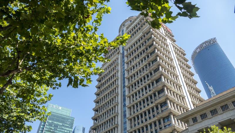 Συμπαθητική άποψη οδών της Σαγκάη με το πράσινους φύλλο και το μπλε ουρανό στοκ φωτογραφία με δικαίωμα ελεύθερης χρήσης