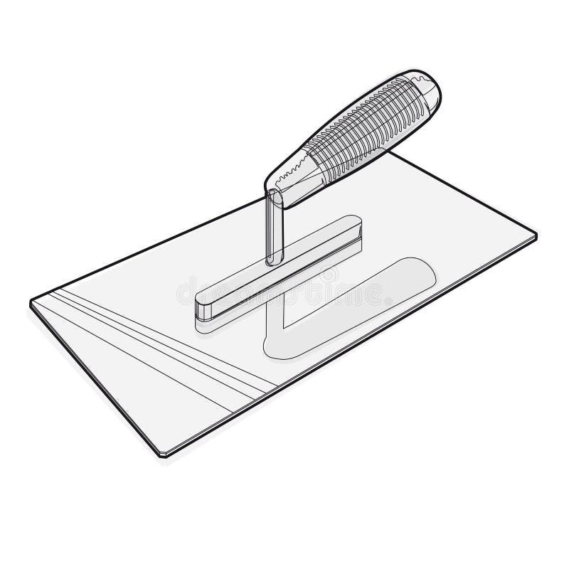 Συμπαθητικός κλασσικός δειγμένος στόκος καλωδίων trowel στο άσπρο υπόβαθρο διανυσματική απεικόνιση