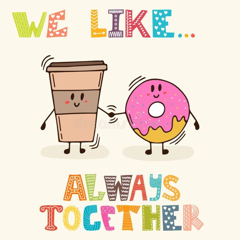 Συμπαθούμε background ocean together Χαριτωμένοι καφές και doughnut χαρακτήρων διανυσματική απεικόνιση