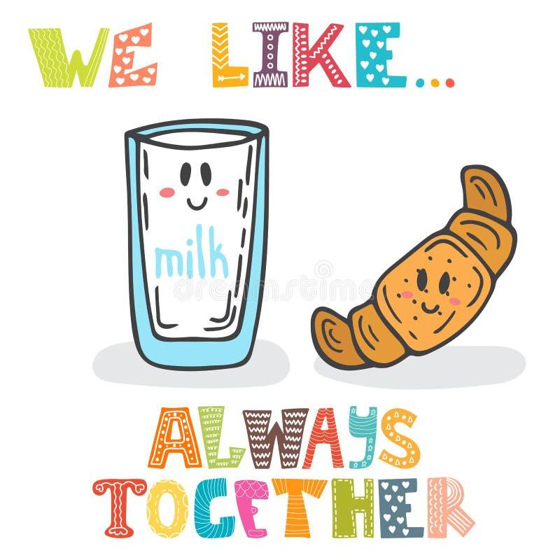 Συμπαθούμε background ocean together Χαριτωμένο ποτήρι χαρακτήρων του γάλακτος και του χρωμίου ελεύθερη απεικόνιση δικαιώματος