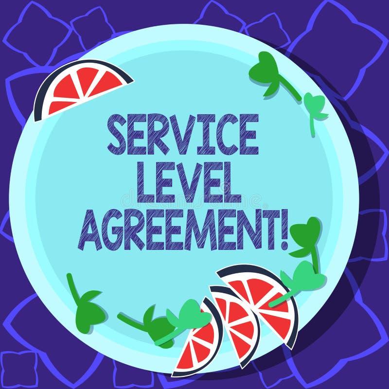 Συμφωνία επιπέδων εξυπηρέτησης γραψίματος κειμένων γραφής Έννοια που σημαίνει την υποχρέωση μεταξύ ενός φορέα παροχής υπηρεσιών κ διανυσματική απεικόνιση