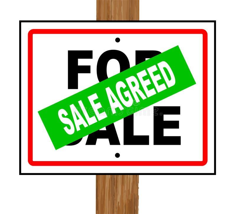 Συμφωνηθε'ν πώληση απομονωμένο σημάδι πώλησης σπιτιών απεικόνιση αποθεμάτων