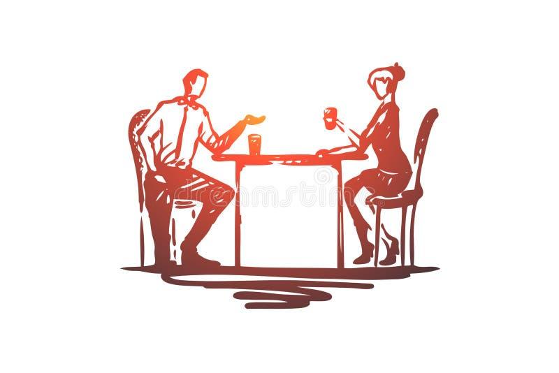 Συνάδελφοι, υπάλληλοι, έννοια φίλων Συρμένη χέρι απομονωμένη σκίτσο απεικόνιση διανυσματική απεικόνιση