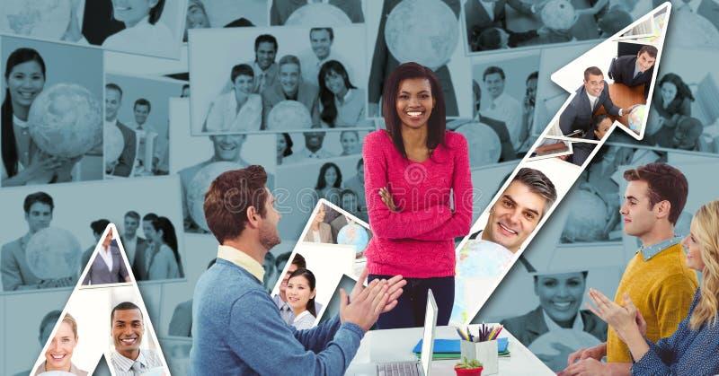 Συνάδελφοι που επιδοκιμάζουν για τη επιχειρηματία ενάντια στη γραφική παράσταση διανυσματική απεικόνιση