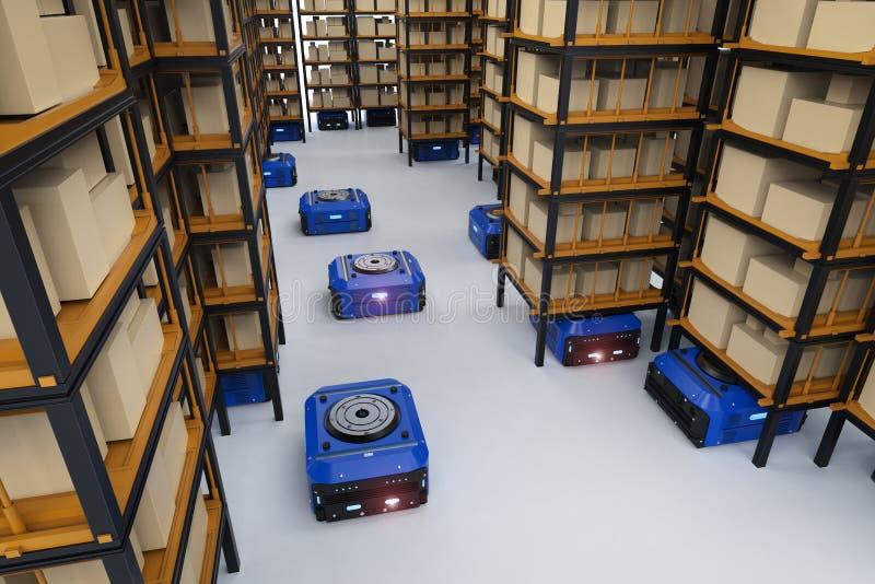 Συνέλευση ρομπότ αποθηκών εμπορευμάτων στοκ εικόνα με δικαίωμα ελεύθερης χρήσης