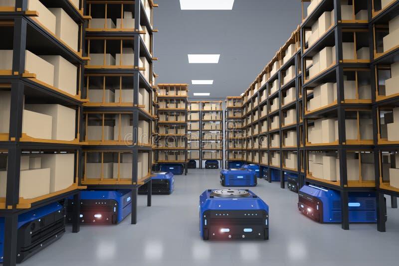Συνέλευση ρομπότ αποθηκών εμπορευμάτων ελεύθερη απεικόνιση δικαιώματος