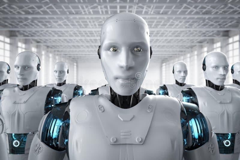 Συνέλευση ρομπότ σε μια σειρά διανυσματική απεικόνιση