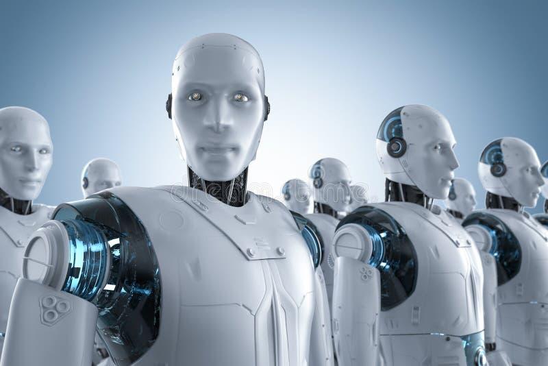 Συνέλευση ρομπότ σε μια σειρά ελεύθερη απεικόνιση δικαιώματος