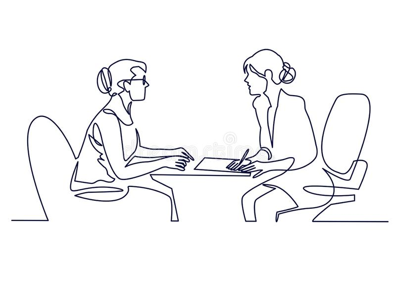 Συνέντευξη εργασίας - διανυσματική σύγχρονη απλή σύνθεση σχεδίου γραμμών με recruiter και τον υποψήφιο Συνεχές σχέδιο γραμμών διανυσματική απεικόνιση