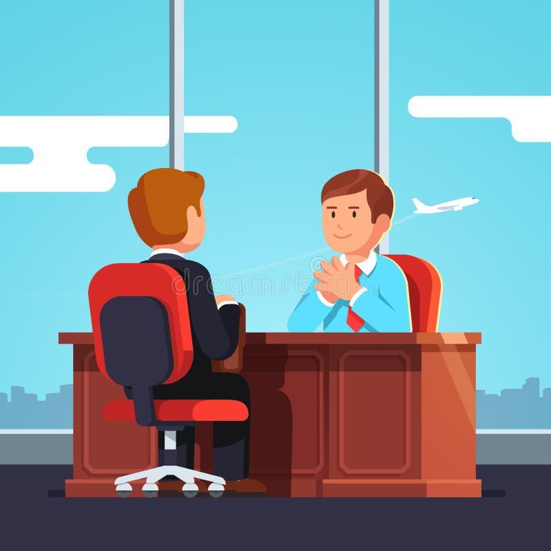 Συνέντευξη CEO εργασίας ή ανώτερος υπάλληλος και υποψήφιος ωρ. απεικόνιση αποθεμάτων