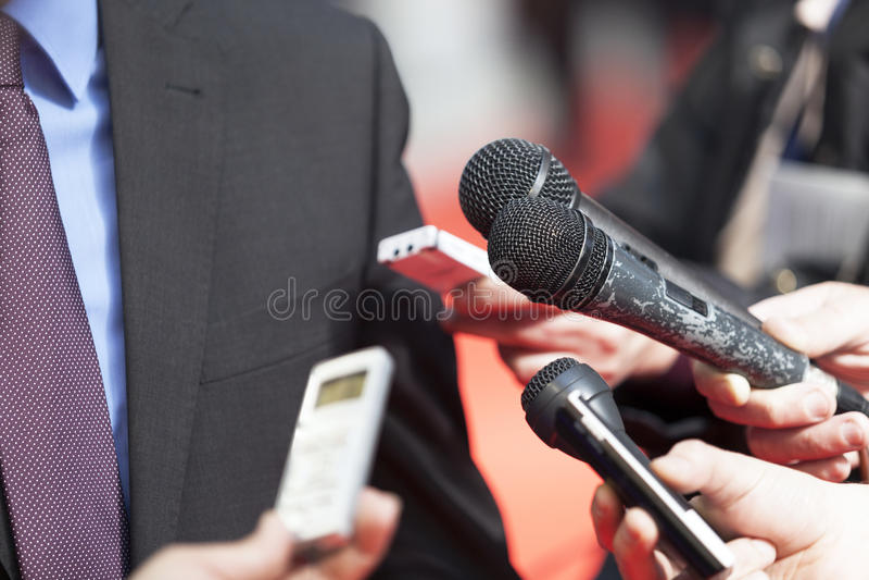 Συνέντευξη MEDIA στοκ φωτογραφία με δικαίωμα ελεύθερης χρήσης