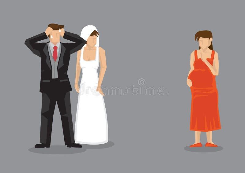 Συναίσθημα γαμπρών που τονίζεται που έρχεται αντιμέτωπο από το έγκυο ασβέστιο φίλων διανυσματική απεικόνιση
