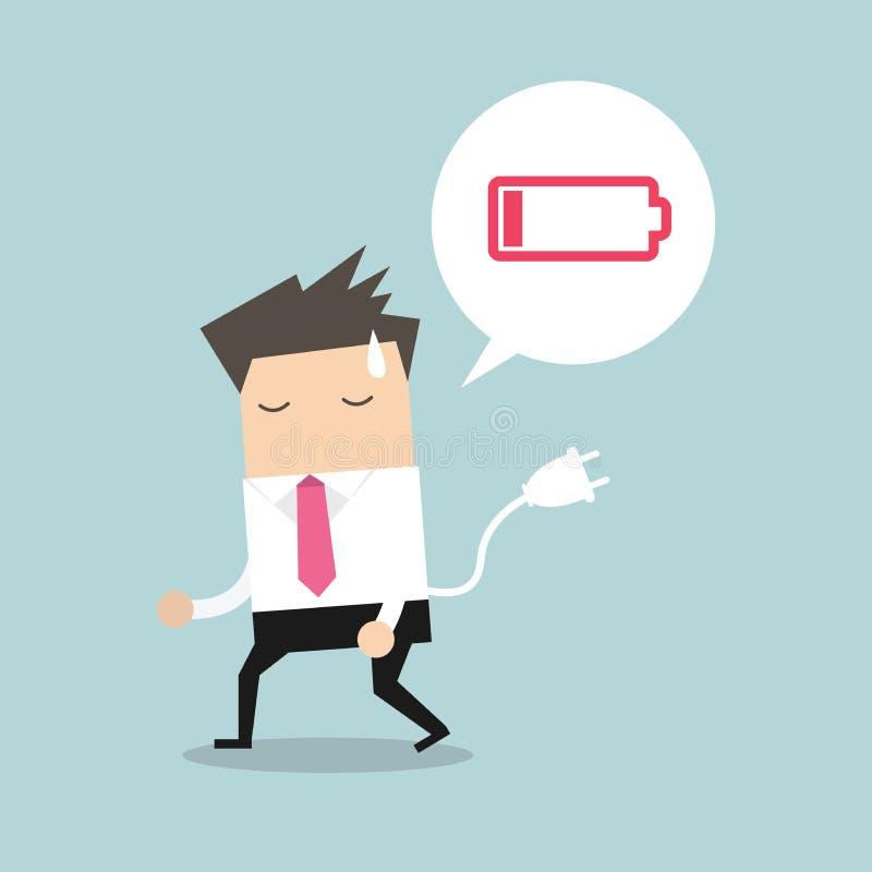 Συναίσθημα επιχειρηματιών που κουράζονται και χαμηλής ισχύος μπαταρία ελεύθερη απεικόνιση δικαιώματος