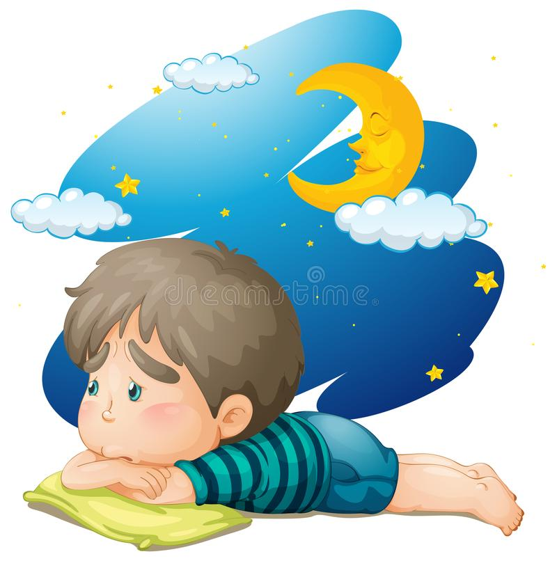 Συναίσθημα μικρών παιδιών που κουράζεται τη νύχτα απεικόνιση αποθεμάτων