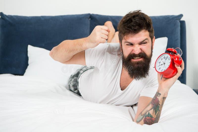 Συναίσθημα που τονίζεται much noise too γενειοφόρο ξυπνητήρι συντριβής ατόμων βάναυσο επιθετικό άτομο στην κρεβατοκάμαρα ώριμο αρ στοκ φωτογραφία με δικαίωμα ελεύθερης χρήσης