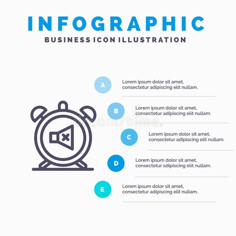 Συναγερμός, ρολόι, μουγγός, μακριά, υγιές εικονίδιο γραμμών με το υπόβαθρο infographics παρουσίασης 5 βημάτων διανυσματική απεικόνιση