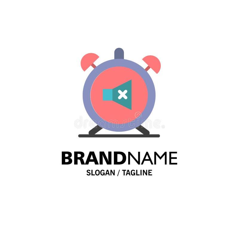 Συναγερμός, ρολόι, μουγγός, μακριά, υγιές πρότυπο επιχειρησιακών λογότυπων Επίπεδο χρώμα διανυσματική απεικόνιση