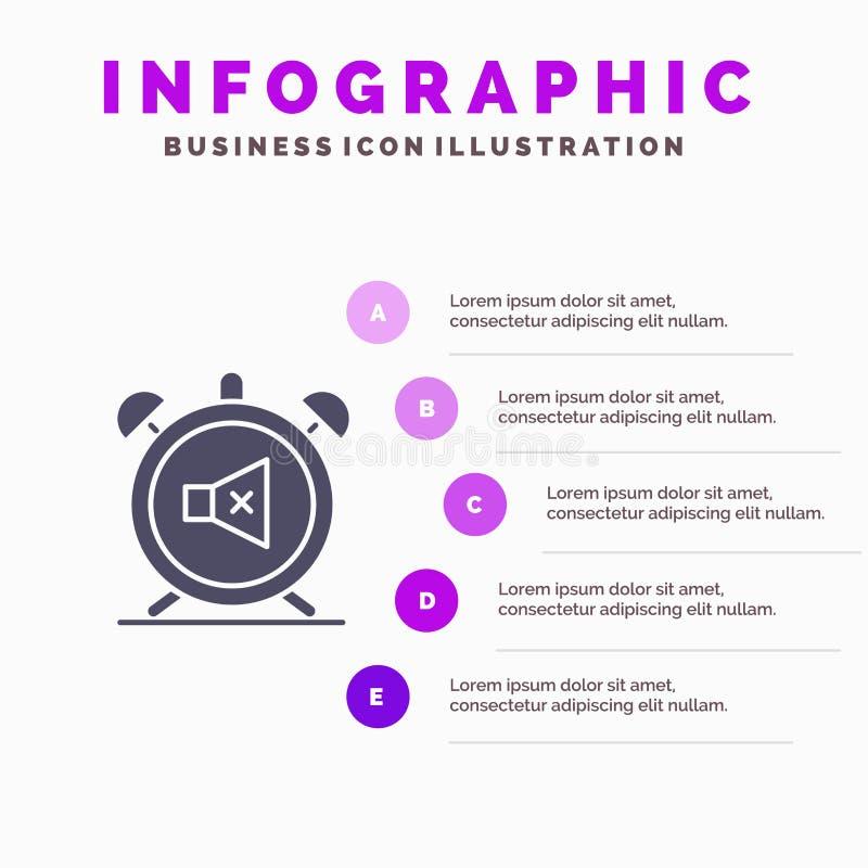 Συναγερμός, ρολόι, μουγγός, μακριά, υγιές στερεό εικονίδιο Infographics 5 υπόβαθρο παρουσίασης βημάτων διανυσματική απεικόνιση