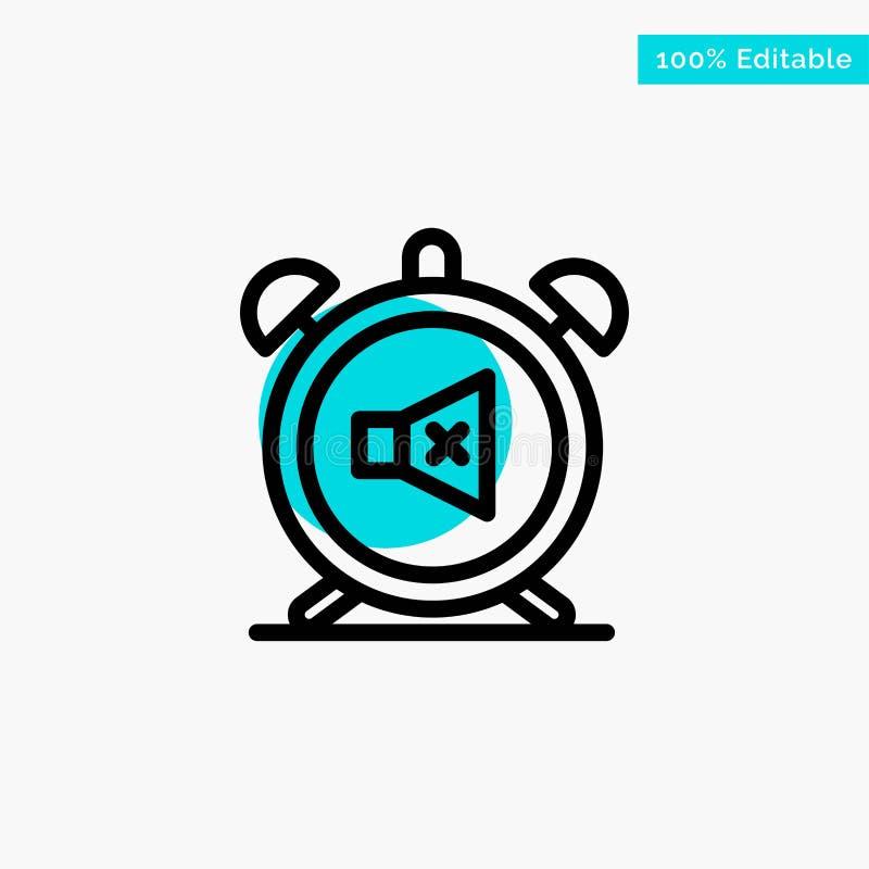 Συναγερμός, ρολόι, μουγγός, μακριά, υγιές τυρκουάζ διανυσματικό εικονίδιο σημείου κυριώτερων κύκλων απεικόνιση αποθεμάτων