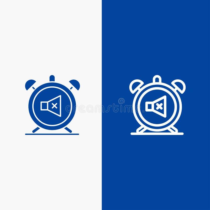 Συναγερμός, ρολόι, μουγγός, μακριά, υγιής γραμμή και στερεά γραμμή εμβλημάτων εικονιδίων Glyph μπλε και στερεό μπλε έμβλημα εικον απεικόνιση αποθεμάτων