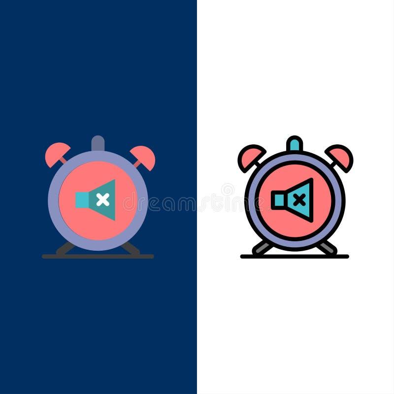 Συναγερμός, ρολόι, μουγγός, μακριά, υγιή εικονίδια Επίπεδος και γραμμή γέμισε το καθορισμένο διανυσματικό μπλε υπόβαθρο εικονιδίω απεικόνιση αποθεμάτων