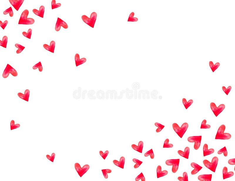 Συναισθήματα αγάπης εραστών διακοπών πρόσκλησης συγχαρητηρίων ημέρας Watercolor καρδιών ημέρας του βαλεντίνου καρτών απεικόνιση αποθεμάτων