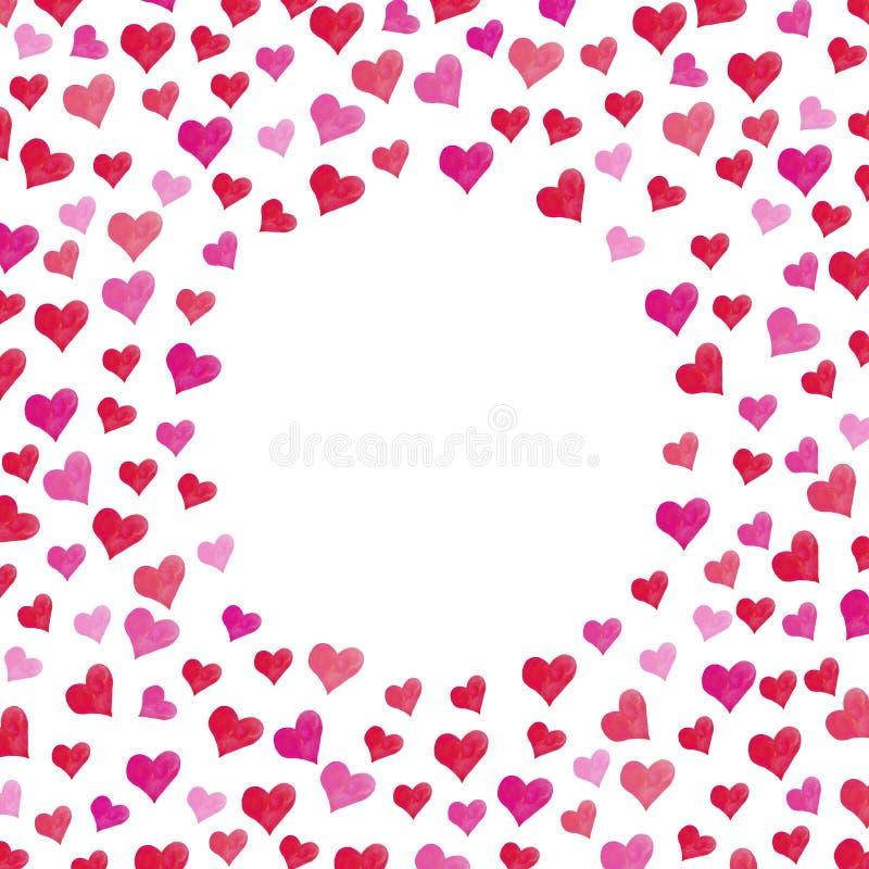 Συναισθήματα αγάπης εραστών διακοπών πρόσκλησης συγχαρητηρίων ημέρας Watercolor καρδιών ημέρας του βαλεντίνου καρτών διανυσματική απεικόνιση