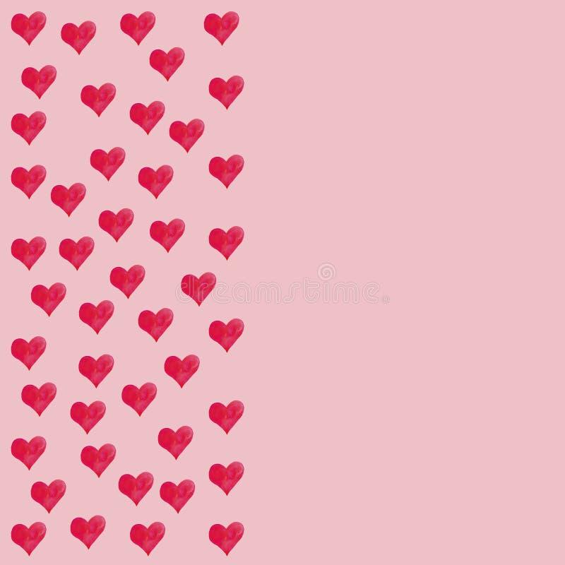 Συναισθήματα αγάπης εραστών διακοπών πρόσκλησης συγχαρητηρίων ημέρας Watercolor καρδιών ημέρας του βαλεντίνου καρτών ελεύθερη απεικόνιση δικαιώματος