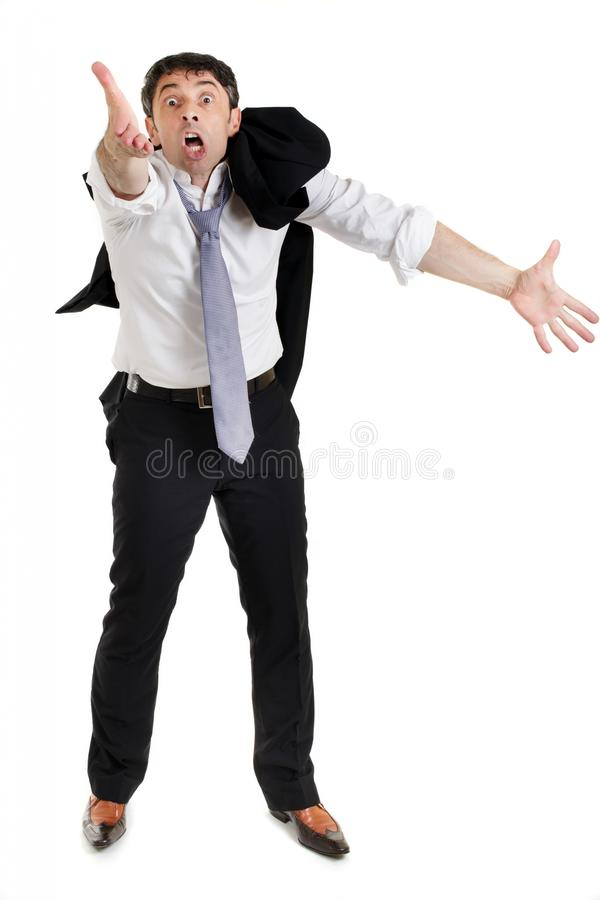 Συναισθηματικός επιχειρηματίας που παρακαλεί δικών του στοκ φωτογραφία